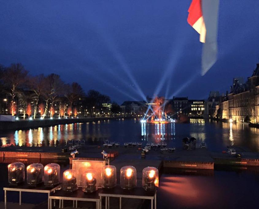 Staatloterij oudejaarstrekking Hofvijver evenement verzorgd door Smile Licht En Geluid Utrecht.