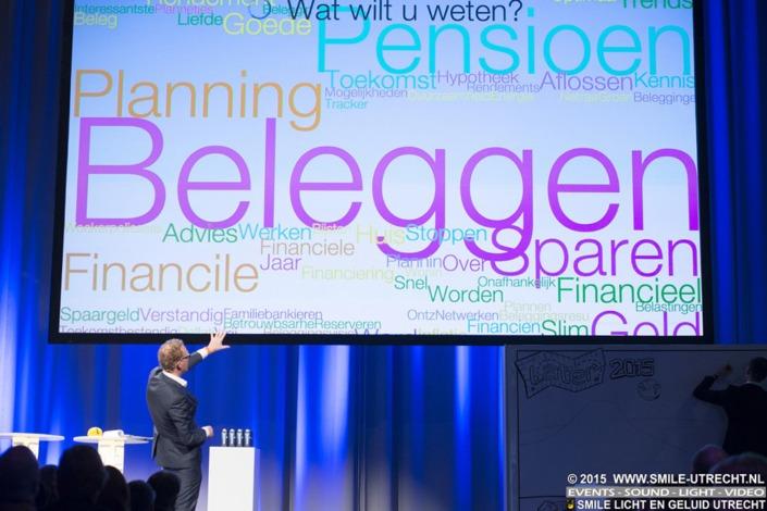 Smile Licht En Geluid Utrecht heeft de volledige technische productie verzorgd op het Later financieel congres in de Kromhouthal.