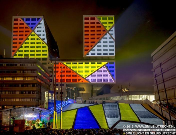 VJ on Tour - videoprojectie op het nieuwe Stadskantoor van Utrecht - Jaarbeursplein.